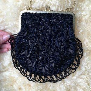 Vintage beaded wristlet purse
